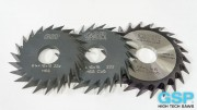 Replacement parts for weld-prep saw blade/bevel cutter combinations (V-prep)